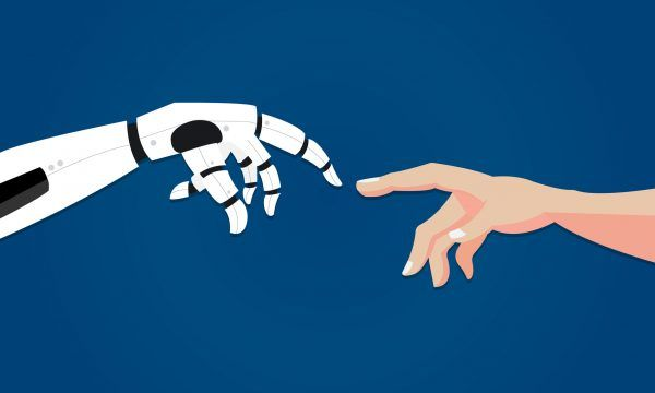 Robot gives hand to human. Artificial intelligence concept in flat design. Two hands in offer position. Vector illustration